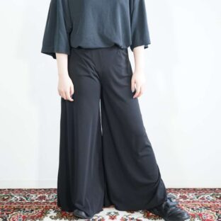 mode black wide hakama pants