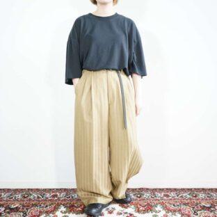 beige camel color glossy stripe deep multi tuck wide slacks