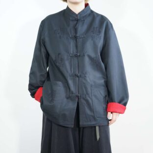 black × red reversible embroidery design CHINA shirt jacket