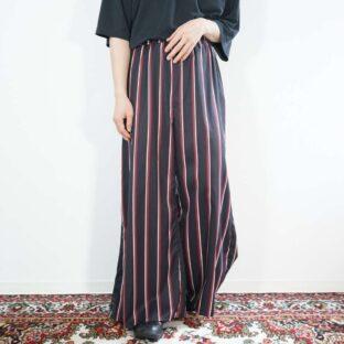 black base multi stripe design wide easy pants