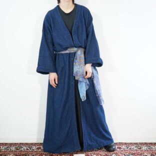 oversized like denim fabric maxi long haori coat with scarf