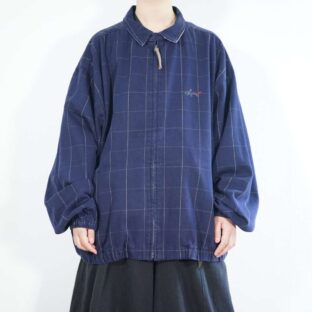 oversized graph check cotton drizzler jacket