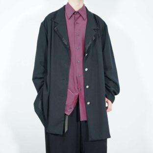oversized black satin piping drape mode easy jacket