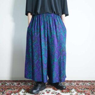 purple green arabesque pattern hakama pants