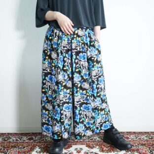 black base blue yellow flower hakama pants