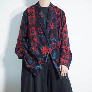 mode dark color flower pattern easy jacket