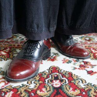 black × brown bi-color leather dress shoes