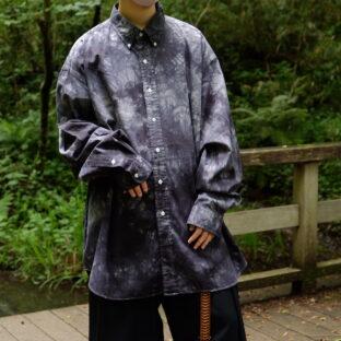 【Atozome】oversized RalphLauren monotone black OVERDYE shirt