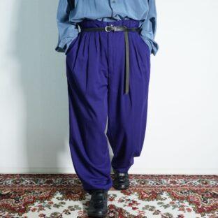 beautiful purple drape silhouette 5tuck wide slacks