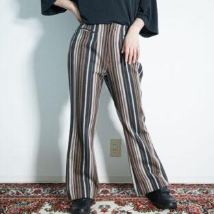 multi stripe design flare slacks