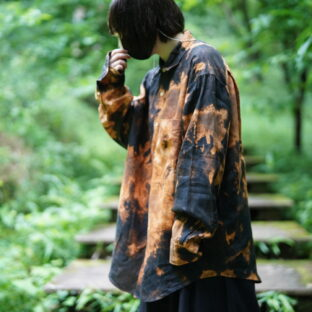 【Bleach】oversized NAUTICA black linen shirt