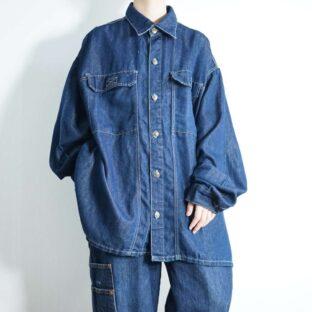 oversized glossy indigo denim shirt jacket