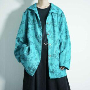 emerald green leaf design jacket