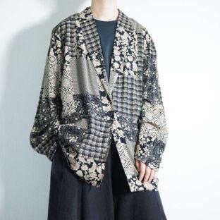 sepia × black flower multi pattern easy jacket