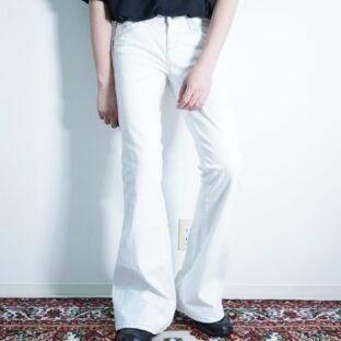pure white denim flare pants