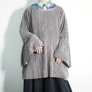 glossy drape khaki flare sleeve pleats cut&sewn