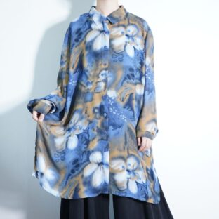 oversized special twilight flower pattern see-through shirt
