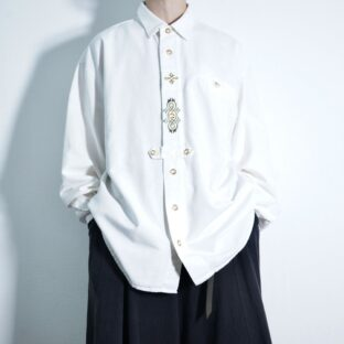 pure white color elegant embroidery motif Tyrolean shirt