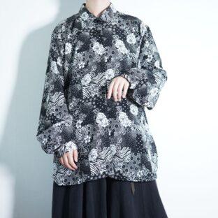 black × white multi flower pattern shirt