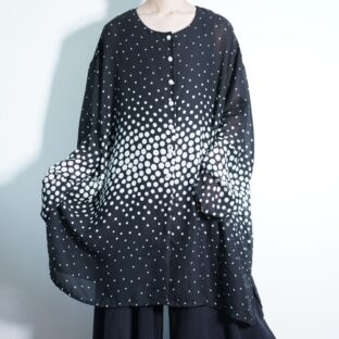 oversized monotone polka dots pattern see-through shirt