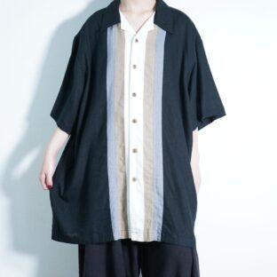 oversized line switching design linen rayon shirt