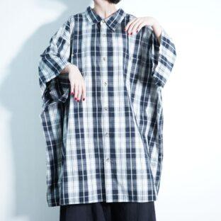 【KING SIZE】oversized monotone check shirt
