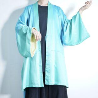 pale blue × green × yellow design haori