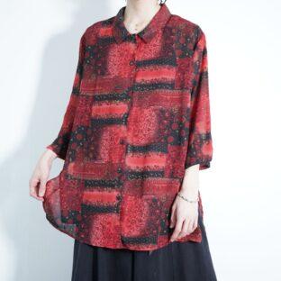 mode black × red arabesque flower motif see-through half sleeve shirt