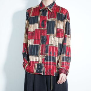 red × brown × black geometric see-through shirt