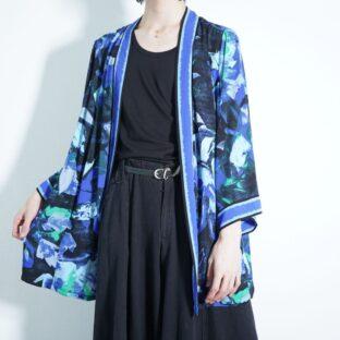 BOB MACKIE beautiful blue art pattern see-through haori