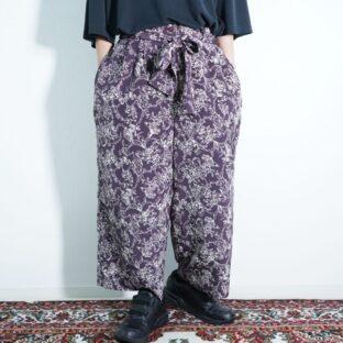 purple × white emotional wide pants