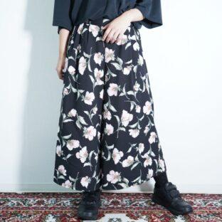 black base pale pink flower pattern hakama pants
