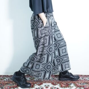monotone scarf pattern hakama pants