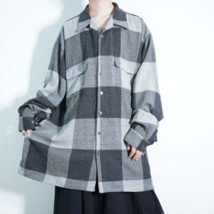 oversized monotone over block check shirt jacket