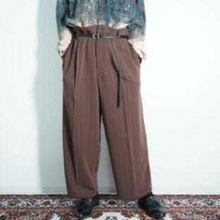 chocolate brown stripe pattern 1tuck super wide slacks