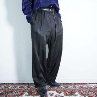 glossy black drape 2tuck slacks