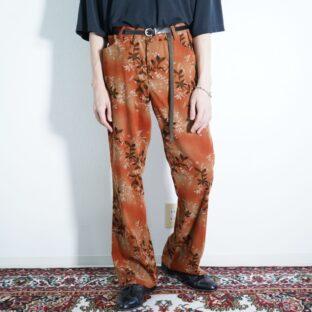 autumn motif pattern flare pants