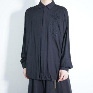 black × black embroidery design viscose shirt