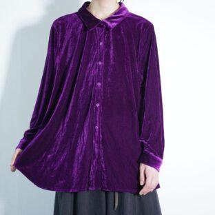 glossy purple velours shirt