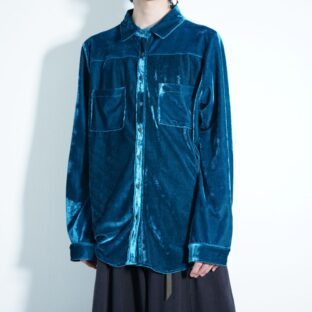 glossy turquoise blue green velours shirt