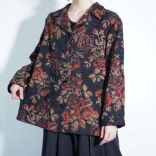 black × red like goblins flower pattern jacket