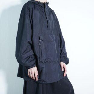oversized mode black gimmick anorak parka