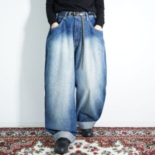 oversized fade indigo blue super wide baggy pants