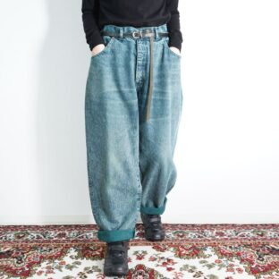 blue green chemical wash baggy denim pants