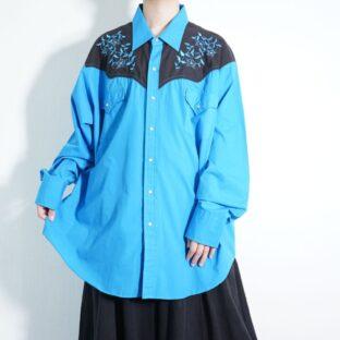 beautiful blue × black flower embroidery western shirt
