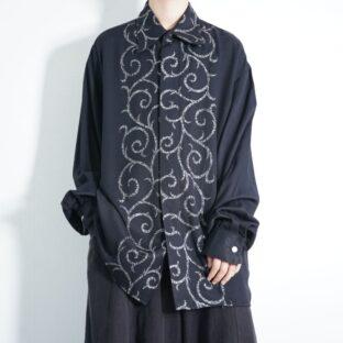 mode black drape fabric silver elegant shirt