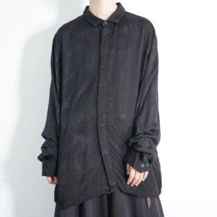 mode black × glossy black mosaic pattern shirt