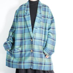 oversized beautiful green base check easy jacket