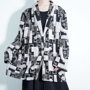 oversized black × sepia tone all pattern easy jacket
